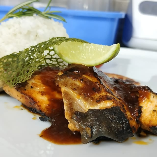 grilled salmon demo masak kikkoman soy sauce teriyaki