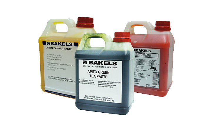 A series of Bakels products, from Apito Green Tea Paste, Banana Paste, and Orange Paste.