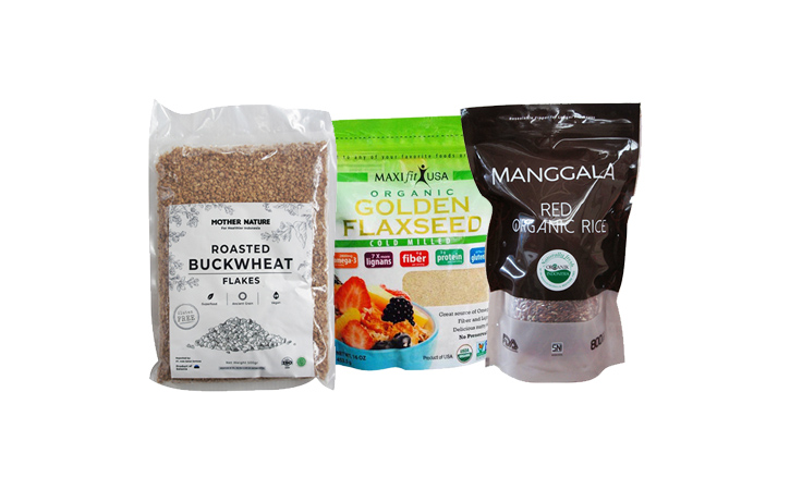 These are roasted buckwheat flakes, golden flaxseed and organic rice if you are hungry for healthy foods.