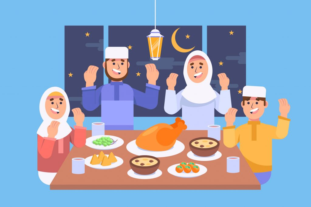 family eat together vector